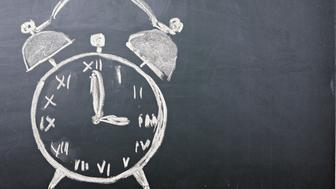 Chalk drawing of alarm clock