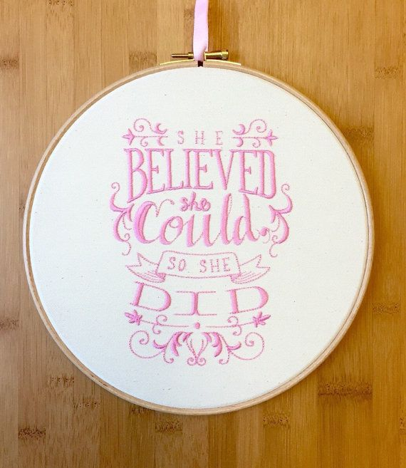 "$26.52, <a href=""https://www.etsy.com/listing/262935574/she-believed-embroidery-hoop-art-so-she?ga_order=most_relevant&ga"