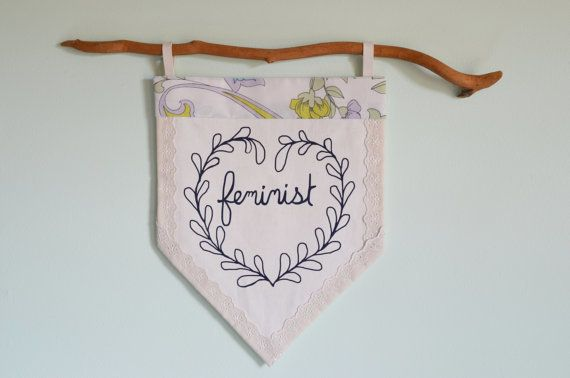 """$34, <a href=""""https://www.etsy.com/listing/287408841/feminist-fabric-pennant-banner?ga_order=most_relevant&ga_search_type"""