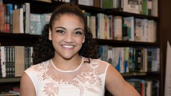 LOS ANGELES, CA - FEBRUARY 15:  Laurie Hernandez appears at her book signing for 'I Got This: To Gold And Beyond' at Barnes & Noble at The Grove on February 15, 2017 in Los Angeles, California.  (Photo by Desiree Stone/WireImage)