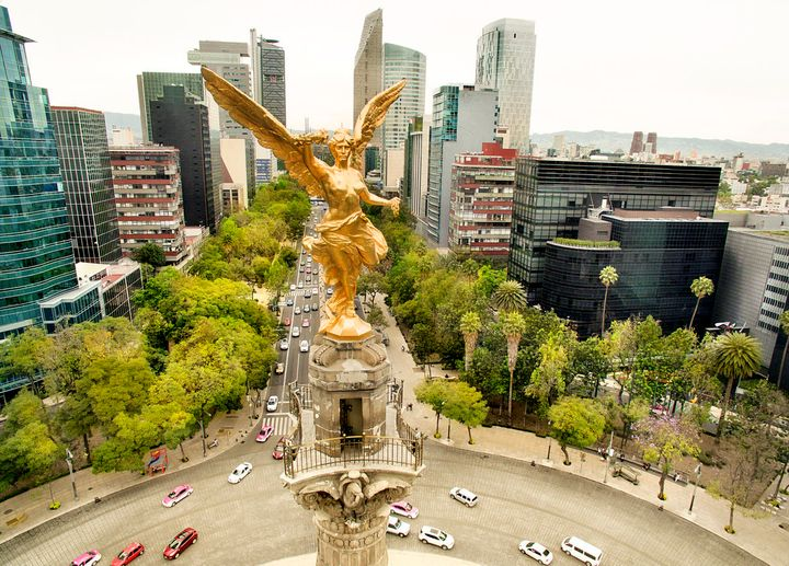 """The <a href=""""https://www.viator.com/Mexico-City-attractions/Angel-of-Independence-Monumento-a-la-Independencia/d628-a20354"""" target=""""_blank"""">Angel of Independence</a> looks over Paseo de la Reforma."""