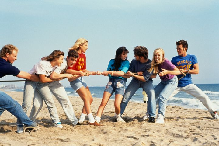 "The pic above shows the cast of ""Beverly Hills, 90210."" Perry (far right) said he doesn't know if his kids have seen any reruns of the hit show."
