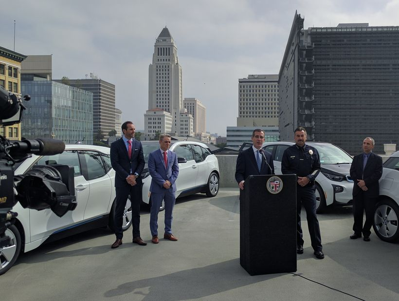 Mayor Eric Garcetti & LAPD Chief Charlie Beck unveil EVs in June 2016