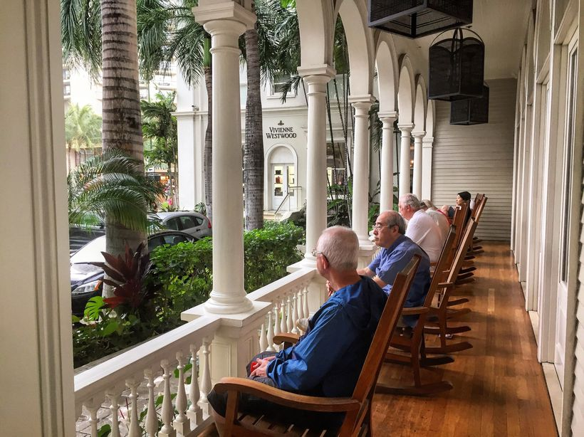 Time slows down on the porch of the Moana Surfrider Hotel, built in 1901.