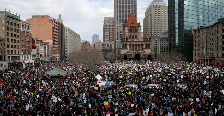 Demonstrators gather in Copley Square to protest U.S. President Donald Trump's executive order travel ban in Boston, Massachu