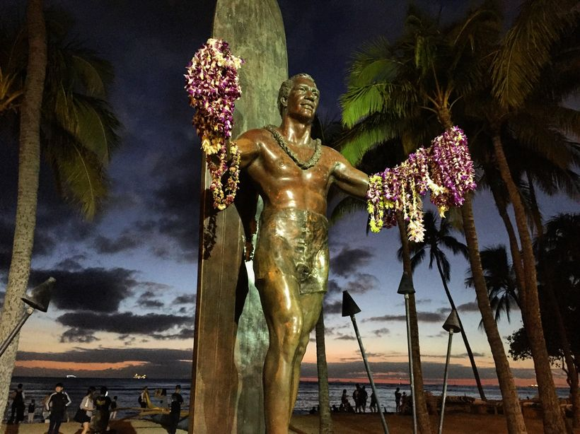 The statue of Hawaii's most famous surfer, Duke Kahanamoku is always decorated with leis.