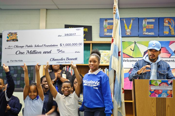 Chance The Rapper holds a press conference and donates $1 Million Dollars to the Chicago Public School Foundation at Westcott
