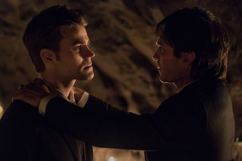 "Paul Wesley and Ian Somerhalder as Stefan and Damonon ""The Vampire Diaries."""