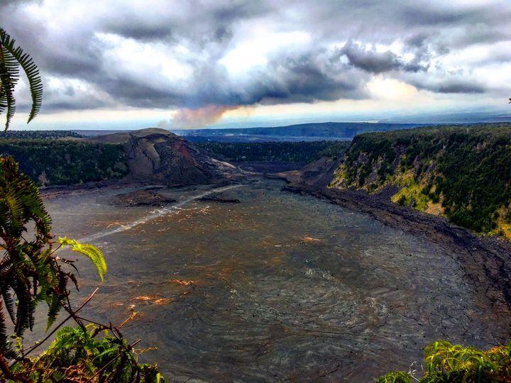 <p>The view down into Halema'uma'u Crater</p>