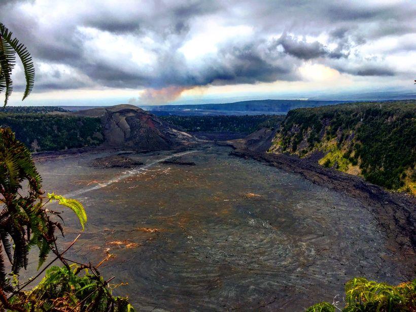 The view down into Halema'uma'u Crater