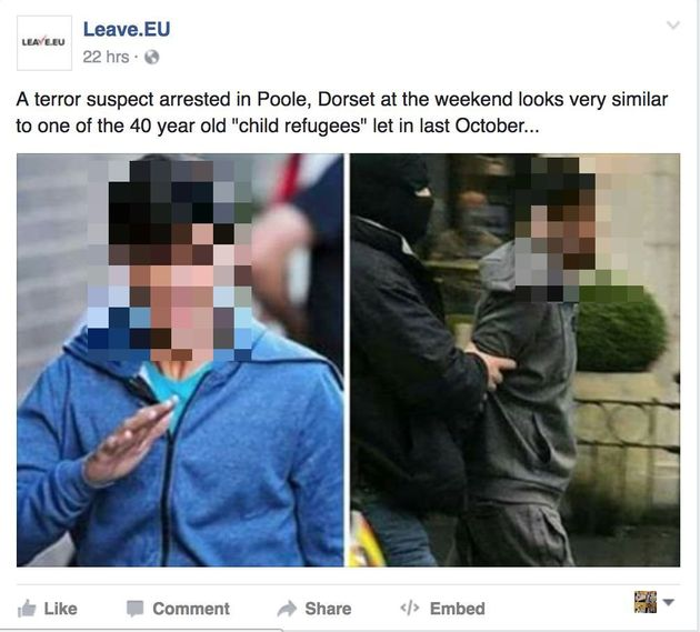Leave.EU's Facebook post (pixelated by HuffPost