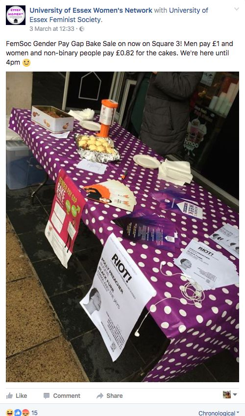 The feminist society at the University of Essex faced criticism over its gender gap bake