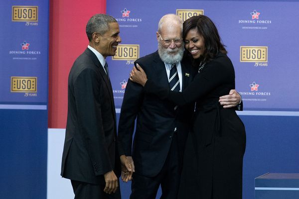 Nearly scratching Michelle Obama's face off with its fullnessduring a comedy show for members of the military in May 20