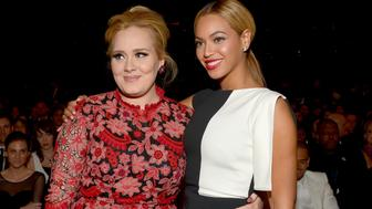 LOS ANGELES, CA - FEBRUARY 10:  Recording artists Adele (L) and Beyonce attend the 55th Annual GRAMMY Awards at STAPLES Center on February 10, 2013 in Los Angeles, California.  (Photo by Lester Cohen/WireImage)