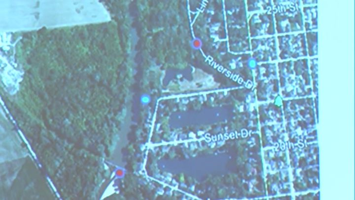 The top red dot is where police said they found Watts' car. The bottom red dot is where her body was found. The blue dots are