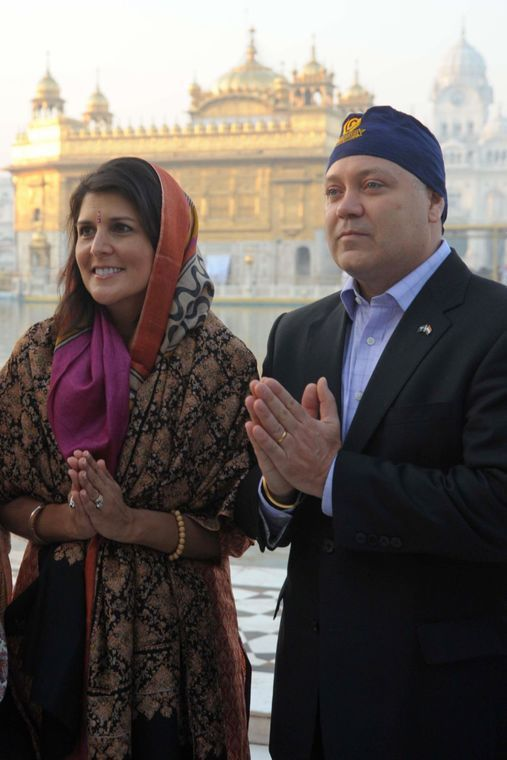 <em>Nikki Haley along with her husband Michael Haley paying obeisance at Golden Temple in Punjab, India in 2014.</em>