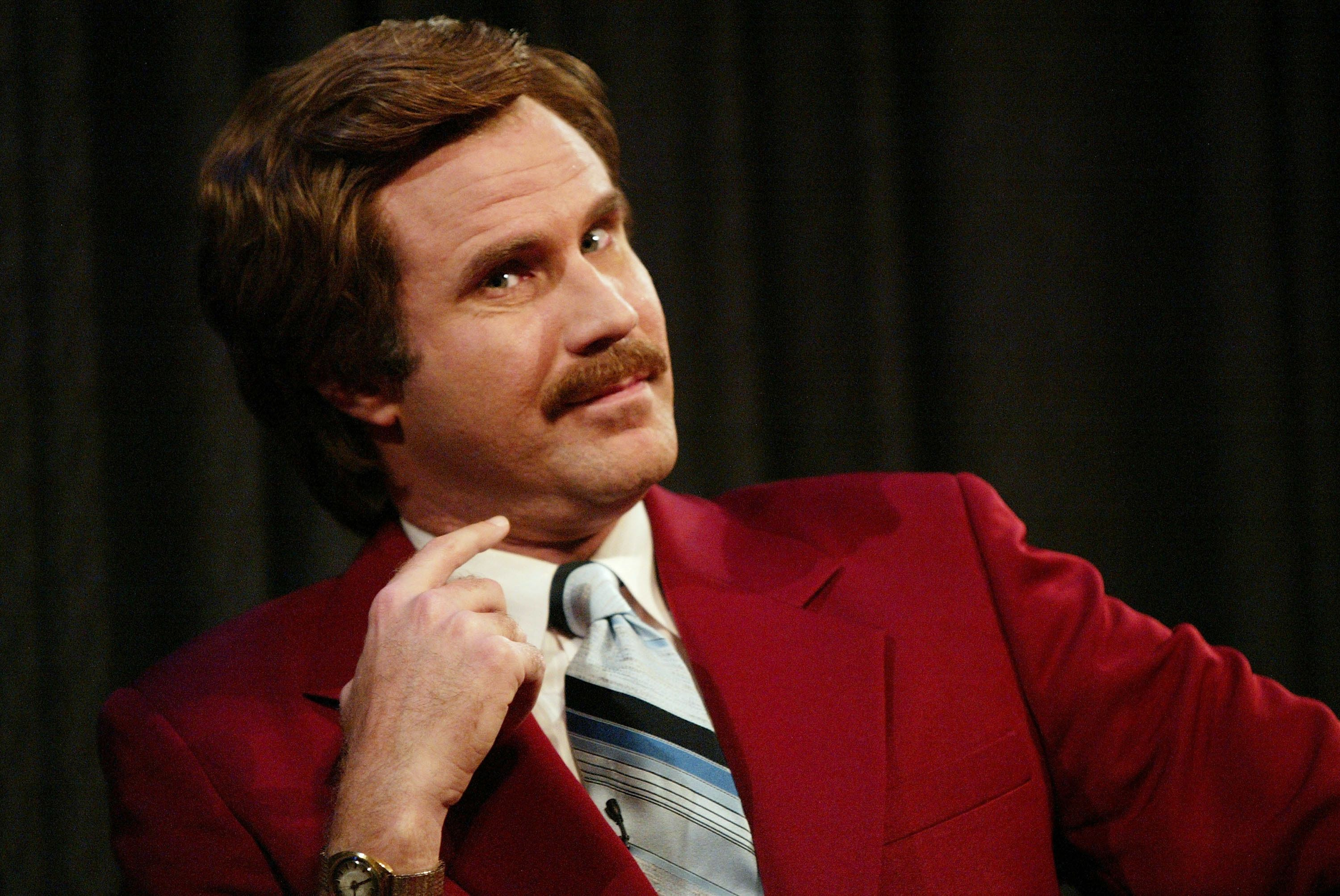"NEW YORK - JULY 7:  Actor Will Ferrell aka Ron Burgundy participates in Q&A after a special screening of the film ""Anchorman: The Legend of Ron Burgundy"" at the Museum of Television and Radio July 7, 2004 in New York City. (Photo by Evan Agostini/Getty Images)"
