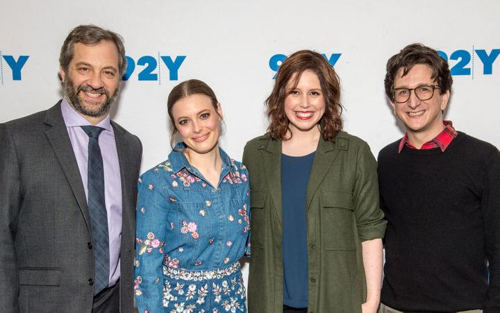 Writer-producer Judd Apatow, actress Gillian Jacobs, moderator Vanessa Bayer and actor Paul Rust at New York's 92Y.<i></i>