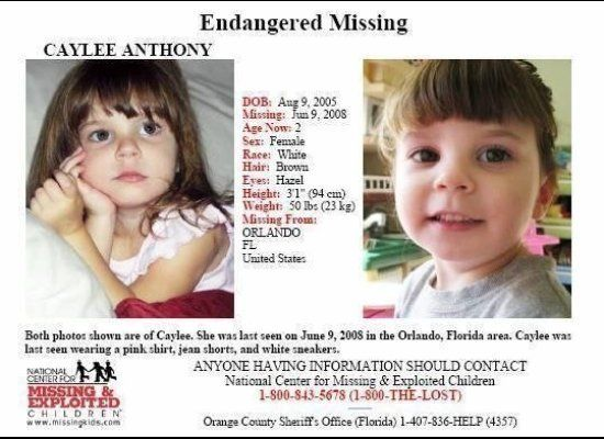 On July 15, 2008 Casey Anthony's mother, Cindy Anthony, called police to report the disappearance of her granddaughter, two-y