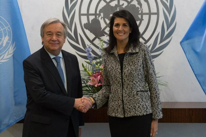 <em>United Nations Secretary-General António Guterres shakes hands with new U.S. Ambassador to the United Nations Nikki Haley