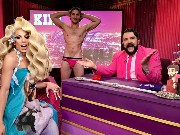 Alaska Thunderuck, Greg McKeon and Jonny McGovern on the Hey Qween set.