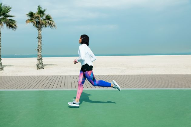 Nike+ Run Club Coach Manal Rostom from Egypt testing out Nike Pro Hijab on a