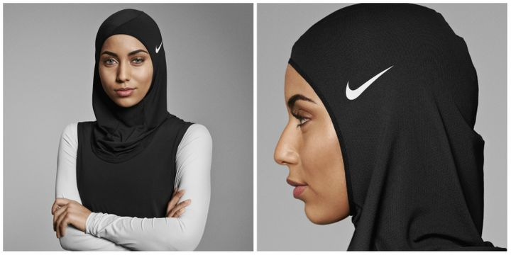 Nike Pro Hijab from the front and side.