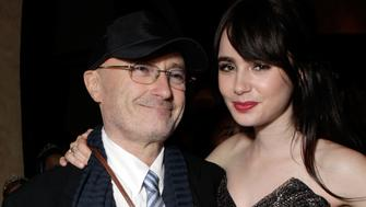 HOLLYWOOD, CA - MARCH 17:  Musician Phil Collins and Actress Lily Collins attend the after party for Relativity Media's 'Mirror Mirror' Los Angeles premiere at the Roosevelt Hotel on March 17, 2012 in Hollywood, California.  (Photo by Todd Williamson/Getty Images For Relativity Media)