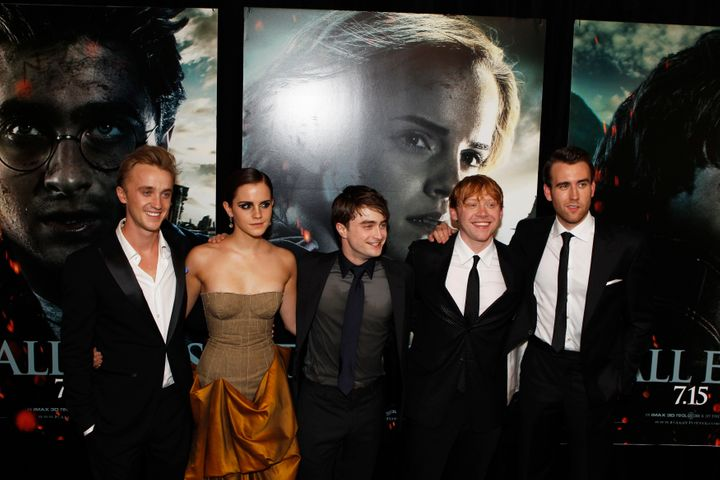 "Cast members (L-R) Tom Felton, Emma Watson, Daniel Radcliffe, Rupert Grint and Matthew Lewis at the premiere of the film ""Har"