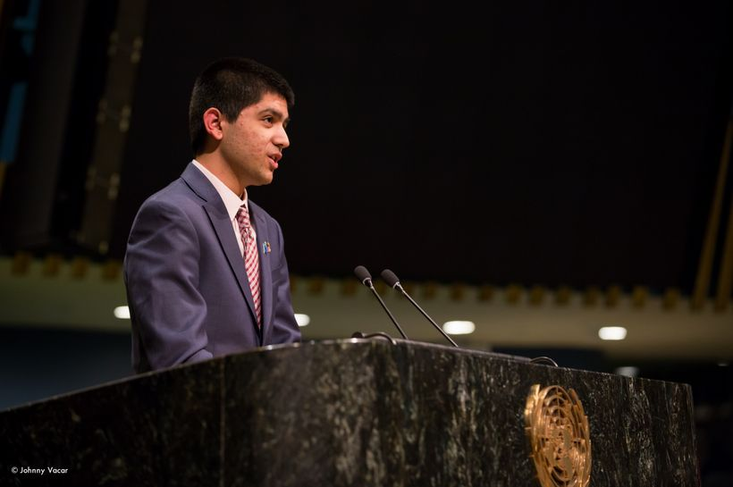 Syed Shoaib Hasan Rizvi addresses the youth delegates at the General Assembly Hall at the United Nations on February 2, 2017.
