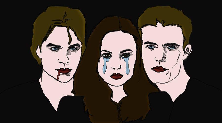 "Illustration of Damon Salvatore, Elena Gilbert and Stefan Salvatore of ""The Vampire Diaries."""