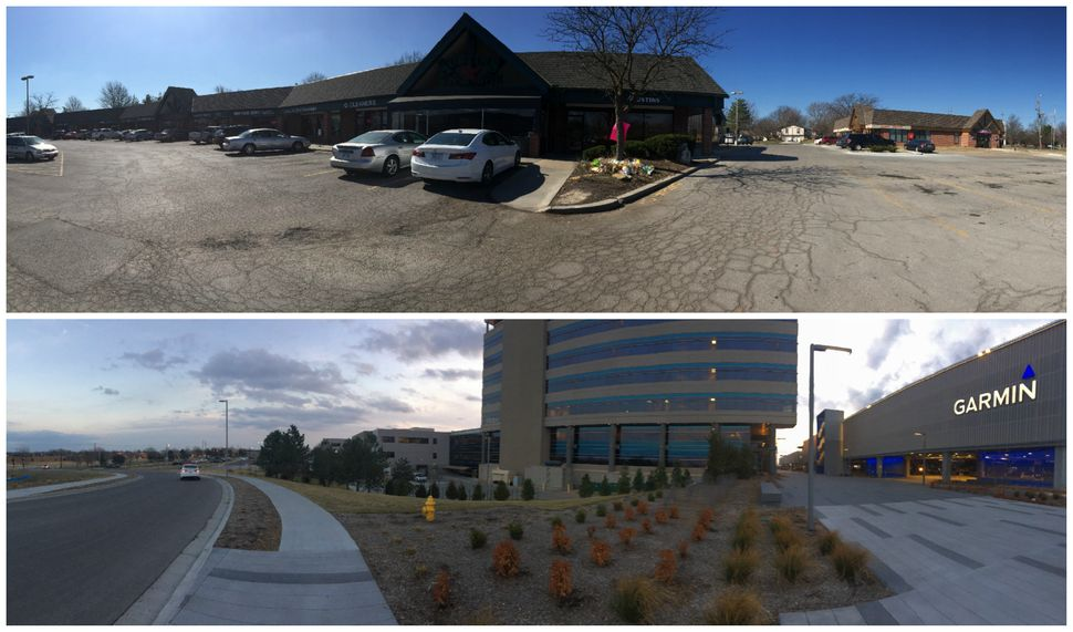 Top: the scene of the shooting at Austins Bar & Grill in Olathe, Kansas. Bottom: the nearby offices of Garmin I