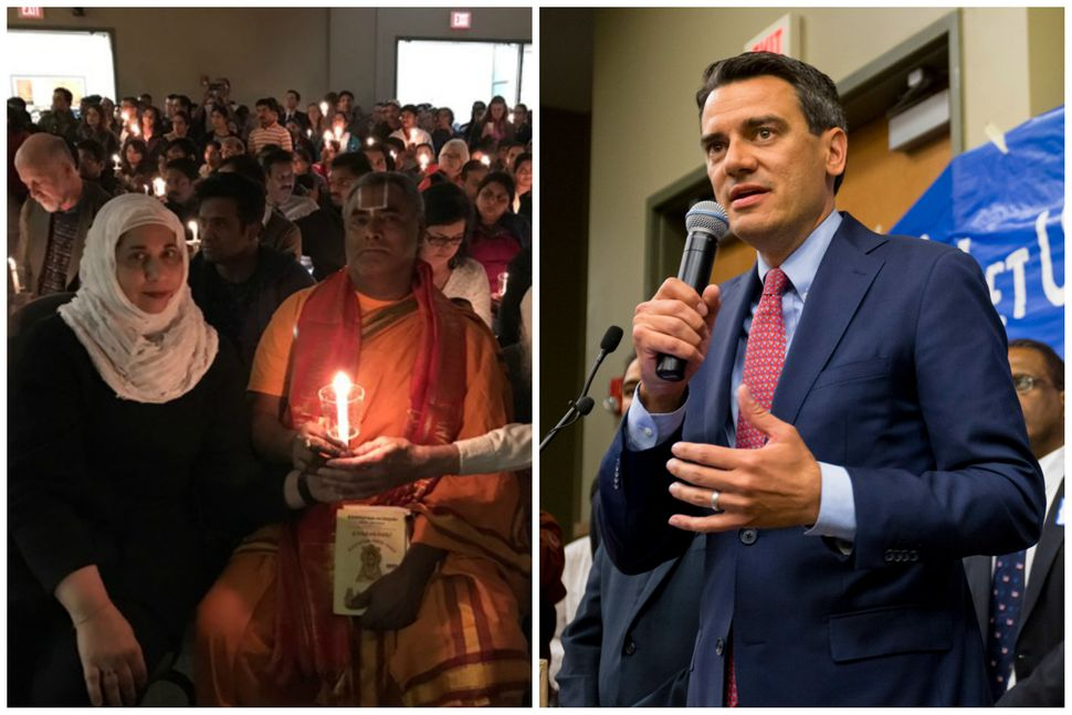 Mahnaz Shabbir, left, sits at the vigil for Srinivas Kuchibhotla. At right, U.S. Rep. Kevin Yoder (R-Kan.) speaks later.