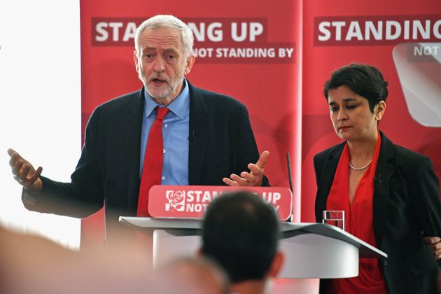 Jeremy Corbyn and Baroness Chakrabarti at the launch of her anti-semitism