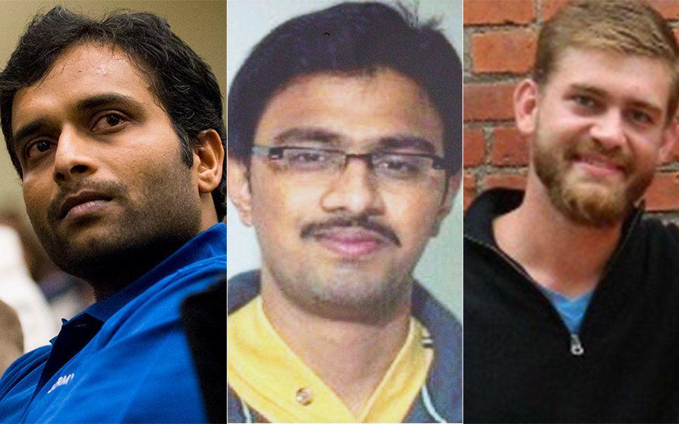 Alok Madasani, left, Srinivas Kuchibhotla andIan Grillot, the three victims of the Olathe, Kansas, shooting. Kuchibhotl