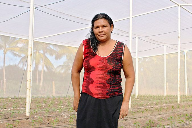 Milagros del Carmen Moreira, leader of the vegetable cooperative UDP Hortalizas Casa Mota El Progreso, another women's coope