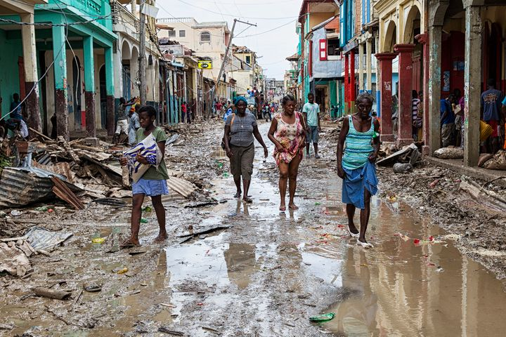Residents in the Haitian city of Les Cayes on the streets two days after Hurricane Matthew, a category 4 storm, made landfall