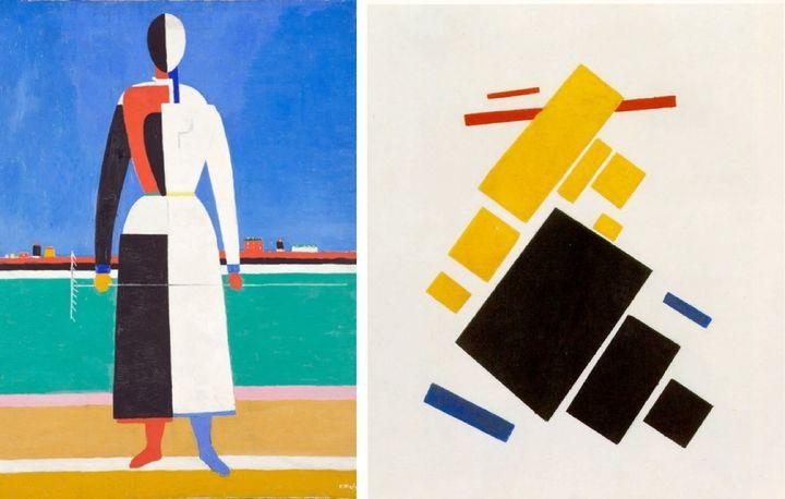L-R: Kazimir Malevich, <em>Woman with Rake</em>, 1932 | Tretyakov Gallery, Moscow; Kazimir Malevich, <em>Suprematist Painting
