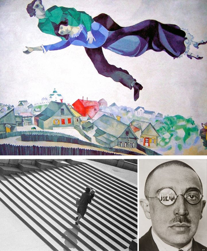 Clockwise from top: Marc Chagall, <em>Over the Town</em>, 1918 | Tretyakov Gallery, Moscow; Alexander Rodchenko, <em>Steps,</