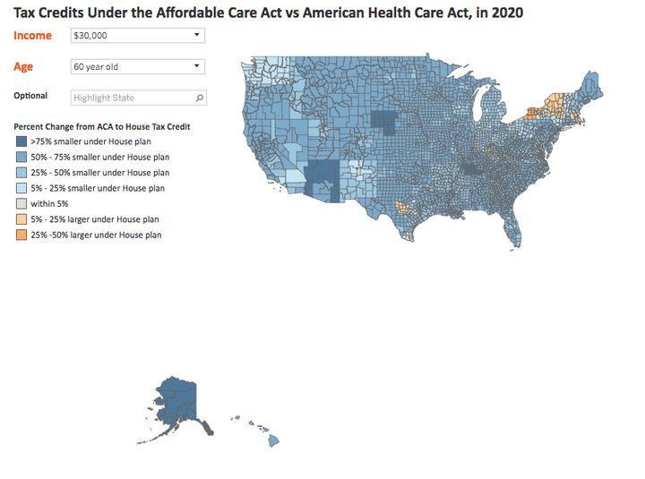 A map demonstrating the House bill's effect on tax credits to buy health insurance for 60-year-old Americans earning $30