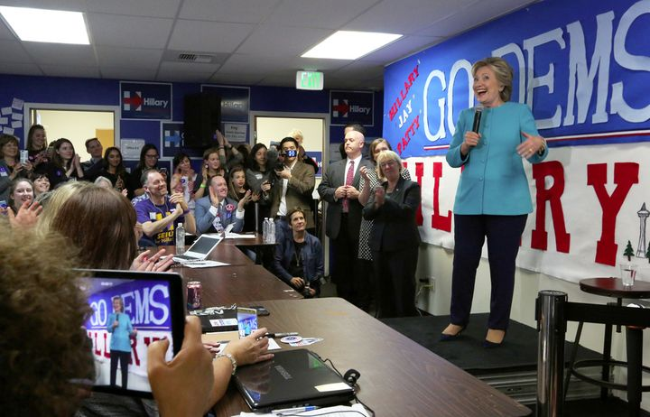 Hillary Clinton making a surprise stop at a campaign office.