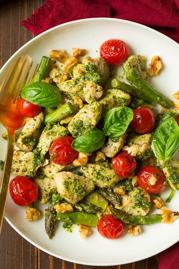 "<strong>Get the <a href=""http://www.cookingclassy.com/sheet-pan-pesto-chicken-asparagus-tomatoes-walnuts/"" target=""_blank"">Sh"