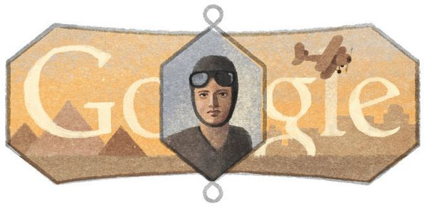 "Egypt's <a href=""https://www.google.com/doodles/lotfia-el-nadis-107th-birthday"" target=""_blank"">first female pilot</a>, who b"