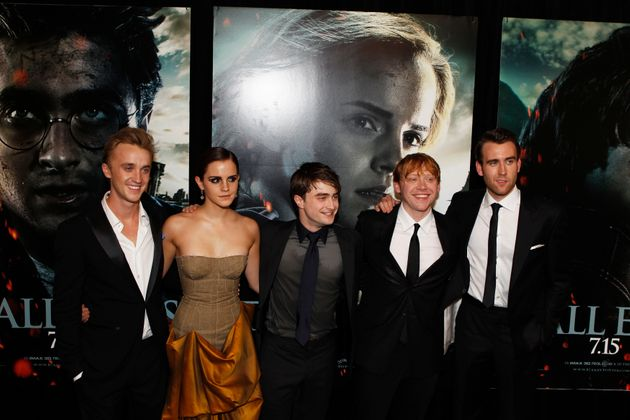 Emma with her 'Harry Potter' chums (L-R) Tom Felton, Daniel Radcliffe, Rupert Grint and Matthew