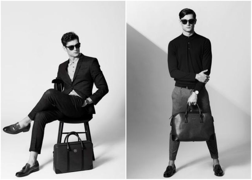 <em>Model with the luxe Bolvaint Cabot Briefcase and (left) and the Ivens Travel Bag (right)</em>