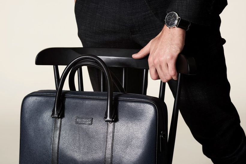 <em>The fashionable Bolvaint Cabot Briefcase and Bolvaint Eanes Classic Minute in Black</em>