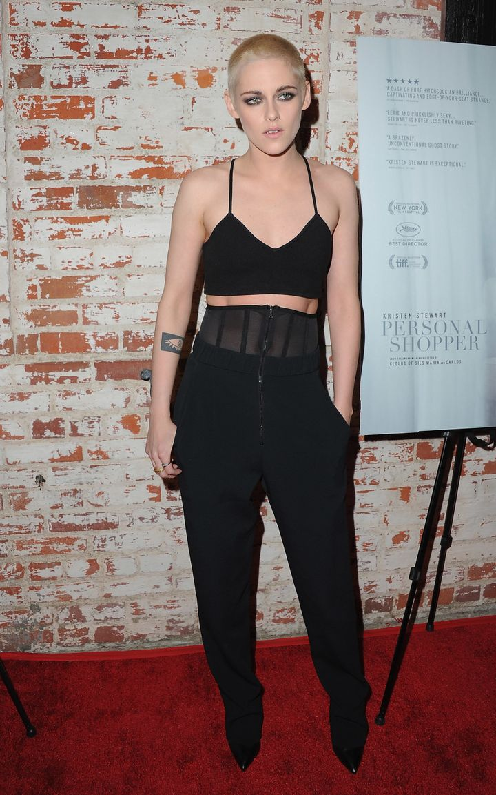 """Stewart, at the L.A. premiere of """"Personal Shopper,"""" sports her new 'do, which her hair stylist calls """"#punky."""""""