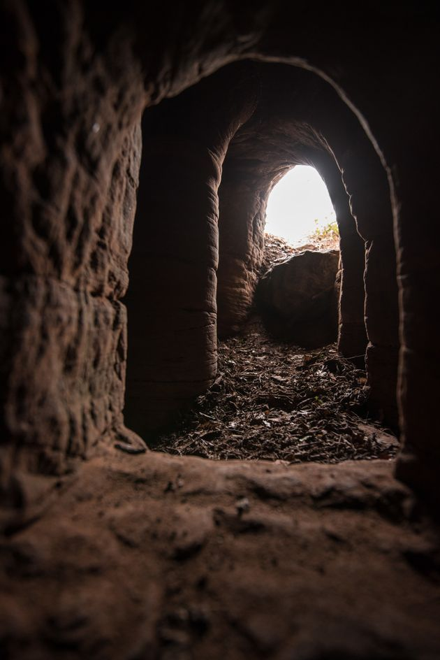 The unassuming hole leads to a network of beautiful underground
