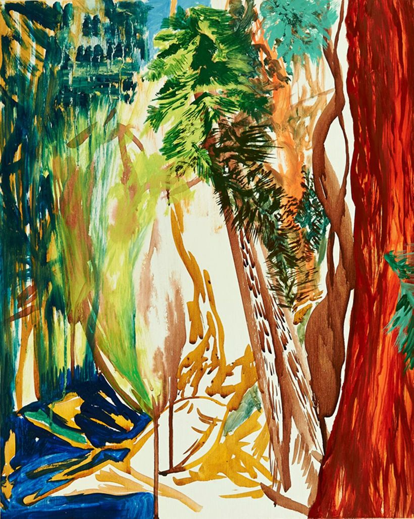 Cecilia Whittaker-Doe, <em>Red Tree</em> (2015), oil and watercolor on birch panel, 20 x 16 inches