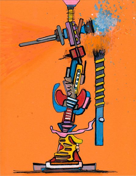 Joseph Meloy, <em>Figure with Stick</em> (2016), ink, oil, colored pencil & china marker on paper, 11 x 8 ½ inches